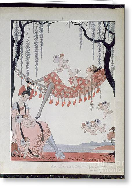 Modeling Greeting Cards - What Do Young Women Dream Of? Greeting Card by Georges Barbier