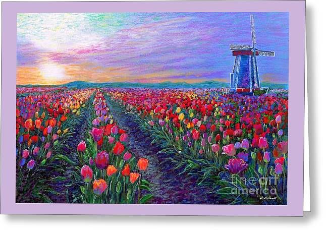 Tulip Fields, What Dreams May Come Greeting Card by Jane Small