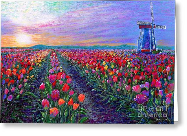 Evening Lights Paintings Greeting Cards - What Dreams Have Come Greeting Card by Jane Small