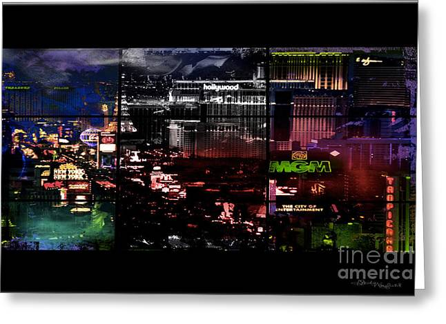 Island Stays Greeting Cards - What Happens in VEGAS... Greeting Card by Christine Mayfield