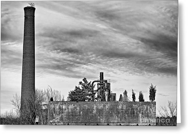 Smokestack Greeting Cards - What If BW Greeting Card by Patrick M Lynch