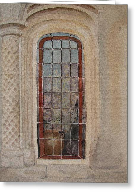 What Is Behind The Window Pane Greeting Card by Mary Ellen Mueller Legault