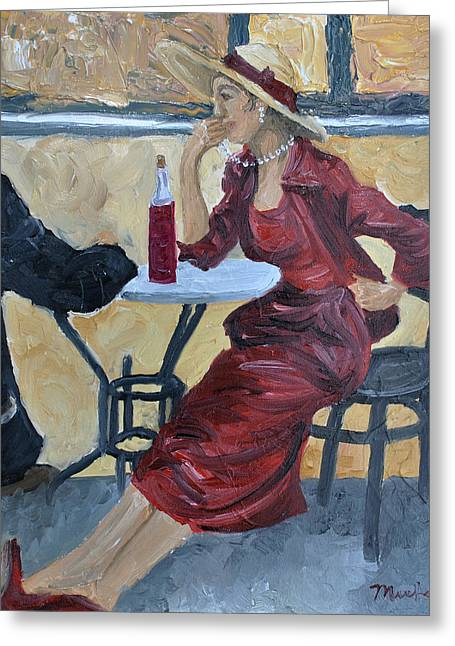 Al Fresco Greeting Cards - What Is She Thinking Greeting Card by Michael Lee