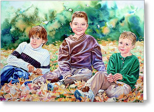 What Leaf Fight Greeting Card by Hanne Lore Koehler