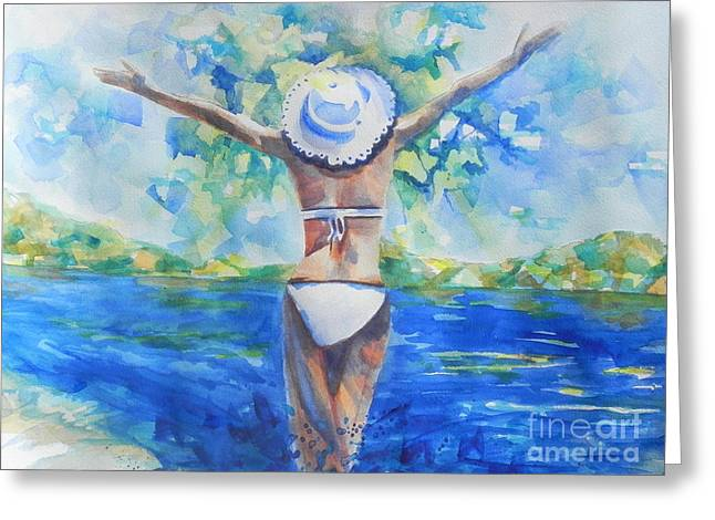 Express Paintings Greeting Cards - What Lies Ahead Series Forgive Greeting Card by Chrisann Ellis