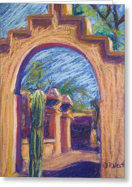 Arch Pastels Greeting Cards - What Lies Beyond Greeting Card by Katrina West