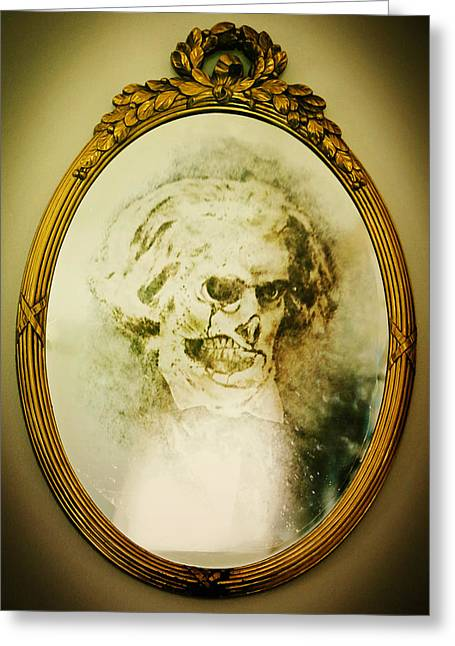 Dorian Gray Greeting Cards - What Looks Back in the Mirror Greeting Card by Anthony Presley