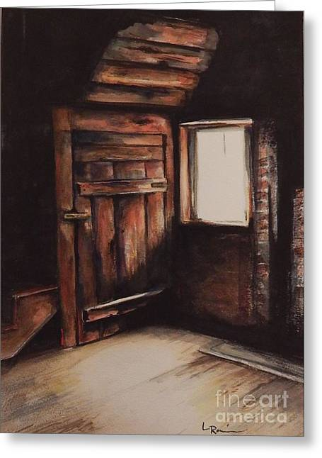 Cabin Corner Greeting Cards - What Lurks Greeting Card by Laura Rainer