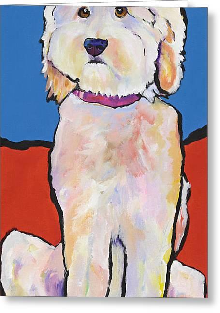 Pat Saunders-white Paintings Greeting Cards - What No Diamonds Greeting Card by Pat Saunders-White