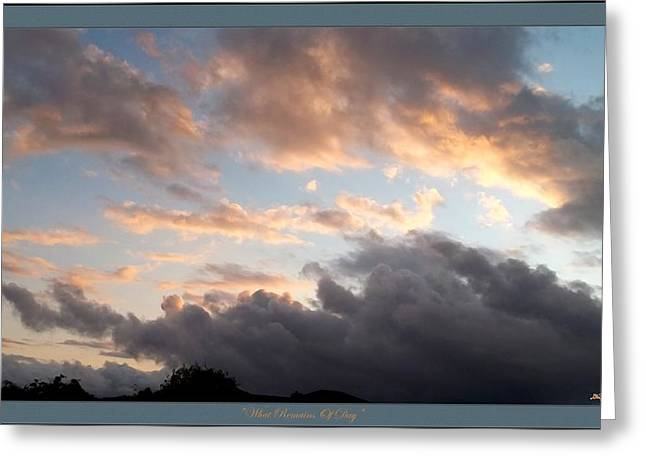 Glenn Mccarthy Greeting Cards - What Remains Of Day Greeting Card by Glenn McCarthy Art and Photography