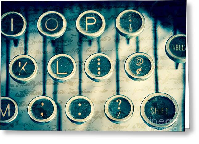 Typewriter Keys Photographs Greeting Cards - What To Say Greeting Card by Sonja Quintero