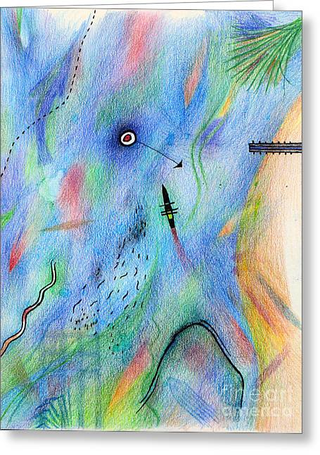 Colored Pencil Abstract Greeting Cards - What we did on our Spanish holiday Greeting Card by Andy  Mercer
