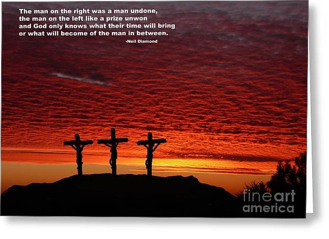 Crucify Digital Art Greeting Cards - What Will Become of the Man In between Greeting Card by Jim Fitzpatrick