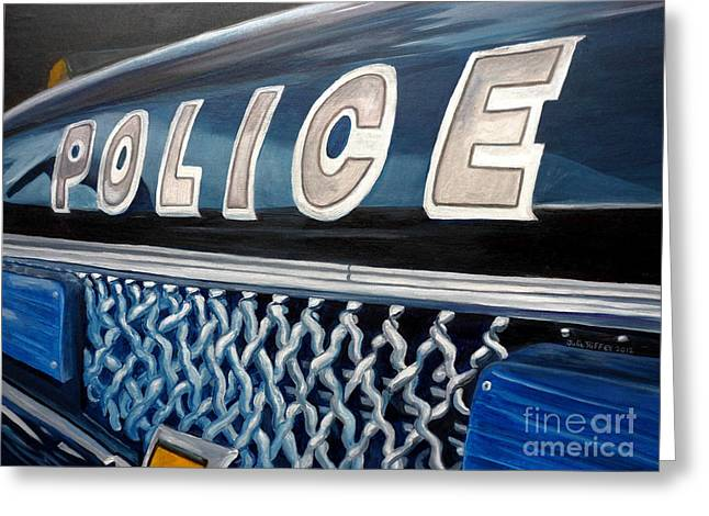 Law Enforcement Paintings Greeting Cards - Whatcha Gonna Do When They Come For You? Greeting Card by Julie Brugh Riffey
