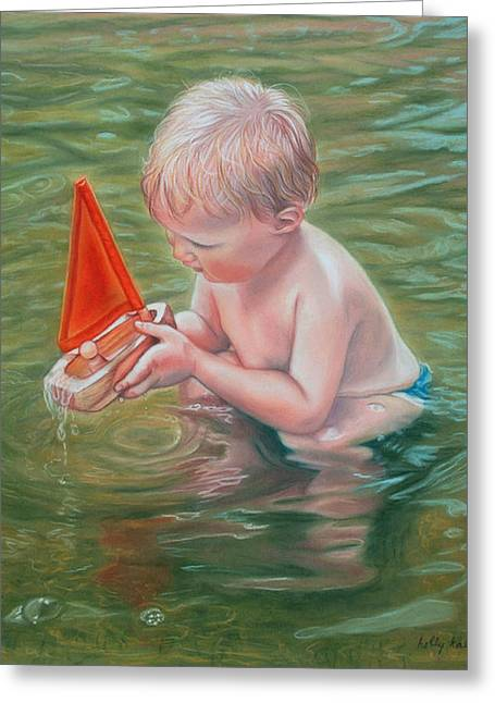 Figurative Pastels Greeting Cards - Whatever Floats Your Boat Greeting Card by Holly Kallie