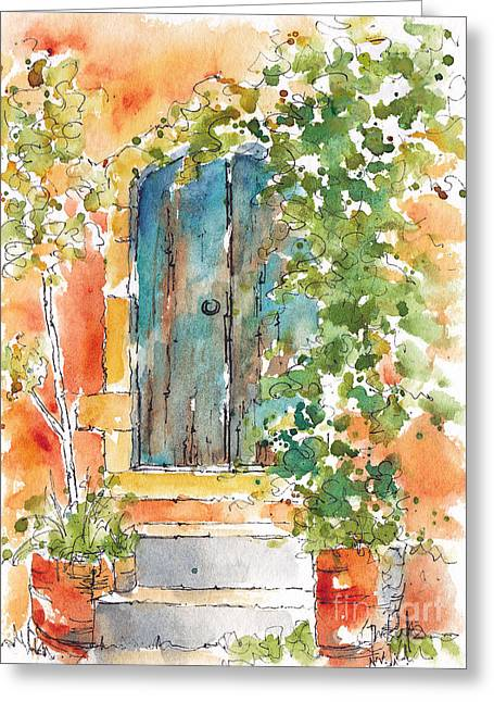 Old Door Greeting Cards - Whats Behind That Door? Greeting Card by Pat Katz