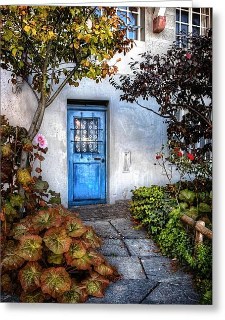 Swiss Photographs Greeting Cards - Whats Behind The Blue Door   Basel Greeting Card by Carol Japp