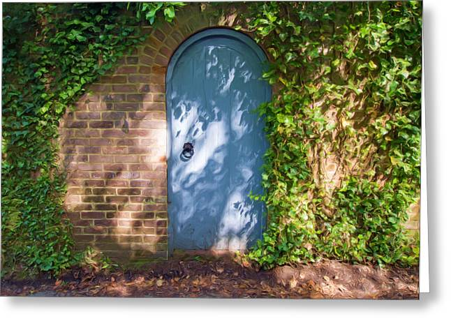 Overgrown Mixed Media Greeting Cards - Whats Behind The Gate? 3 Greeting Card by Roy Pedersen