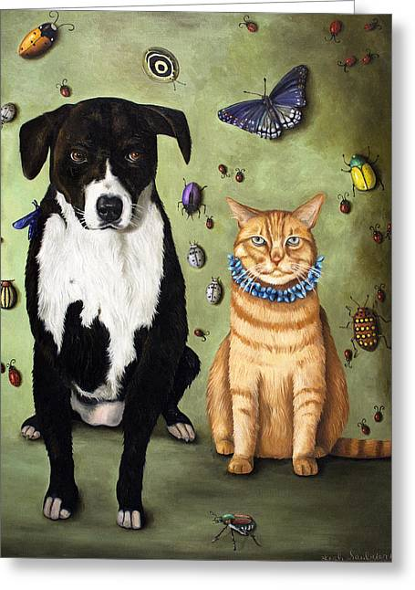 Fluttering Paintings Greeting Cards - Whats Bugging Luke and Molly Greeting Card by Leah Saulnier The Painting Maniac