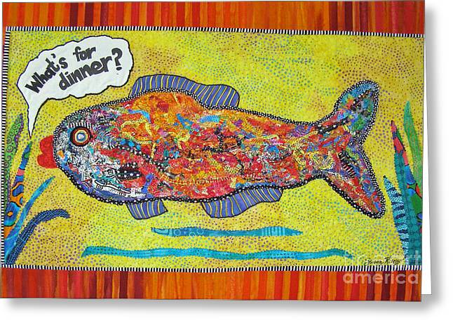 Framed Art Tapestries - Textiles Greeting Cards - Whats For Dinner Greeting Card by Susan Rienzo
