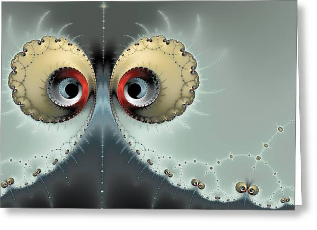 Light And Dark Greeting Cards - Whats going on - Fractal eyes watching you Greeting Card by Matthias Hauser