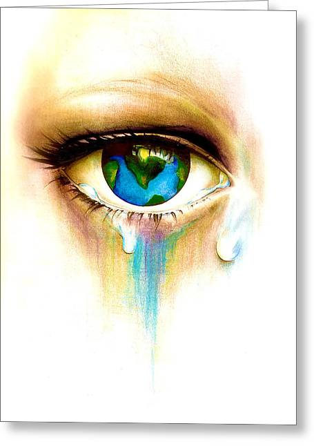 What's In A Tear? Greeting Card by Andrea Carroll