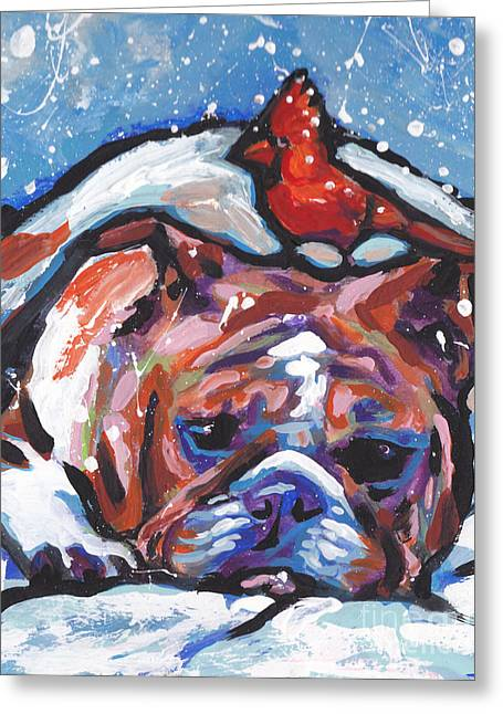 English Bulldog Portrait Greeting Cards - Whats On My Head Greeting Card by Lea