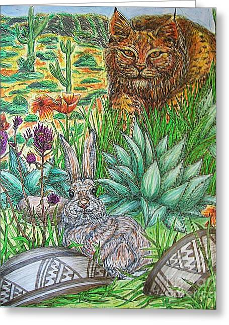 Bobcat Mixed Media Greeting Cards - Whats That...? Greeting Card by Kim Jones