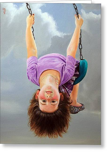 Child Swinging Paintings Greeting Cards - Whats Up? Greeting Card by Glenn Beasley