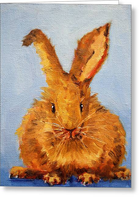 Bunnies Greeting Cards - Whats Up? Greeting Card by Nancy Merkle