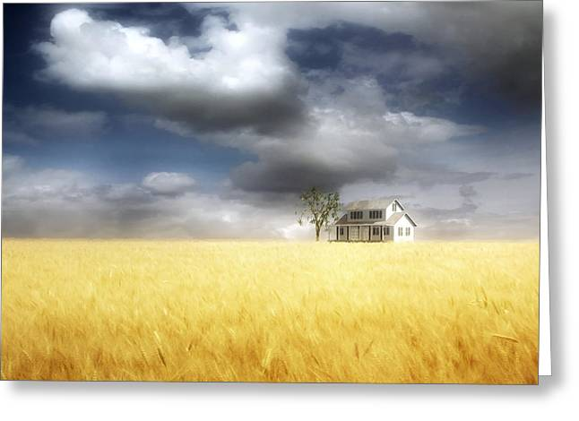 Storm Clouds Digital Art Greeting Cards - Wheat Field Greeting Card by Cynthia Decker