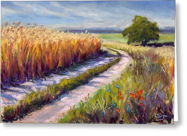 Spring Pastels Greeting Cards - Wheat Field Road Greeting Card by Susan Jenkins