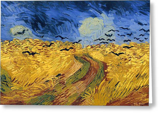 Recently Sold -  - Field. Cloud Greeting Cards - Wheat Field with Crows Greeting Card by Van Gogh