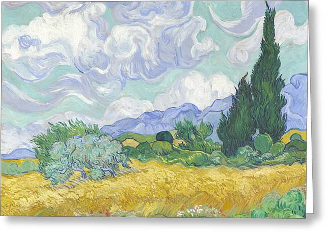 Old Masters Greeting Cards - Wheat Field with Cypresses Greeting Card by Celestial Images