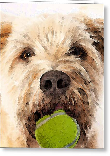 Doggie Art Greeting Cards - Wheaten Terrier - Lets Play Greeting Card by Sharon Cummings