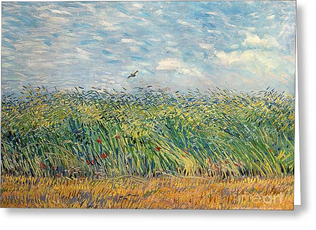 Windy Greeting Cards - Wheatfield with Lark Greeting Card by Vincent van Gogh