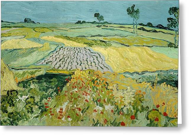 Contemporary Symbolism Greeting Cards - Wheatfields near Auvers-sur-Oise Greeting Card by Vincent van Gogh