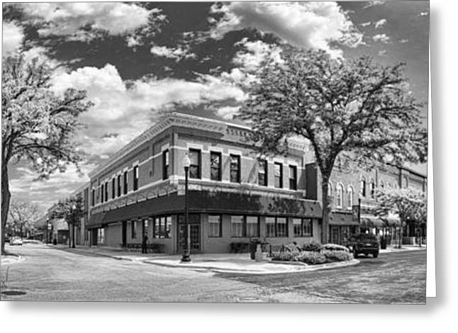 Main Street Greeting Cards - Wheaton Front Street Panorama Black and White Greeting Card by Christopher Arndt