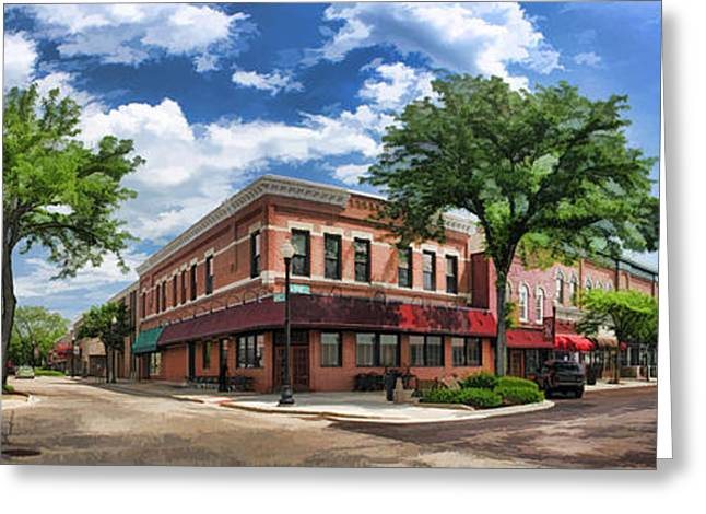 Main Street Greeting Cards - Wheaton Front Street Panorama Greeting Card by Christopher Arndt