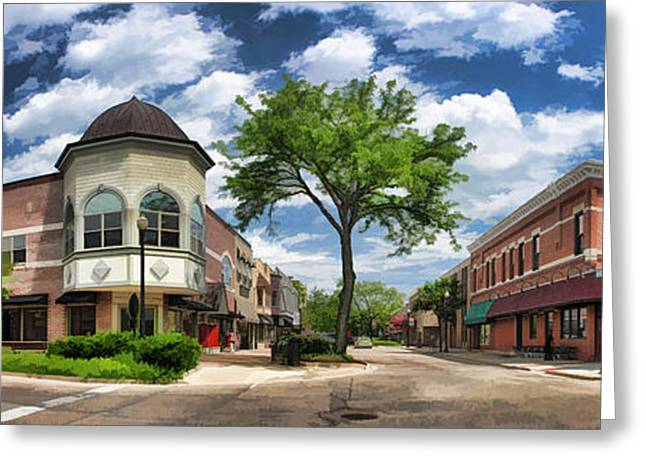 Best Sellers -  - Main Street Greeting Cards - Wheaton Front Street Panorama Greeting Card by Christopher Arndt