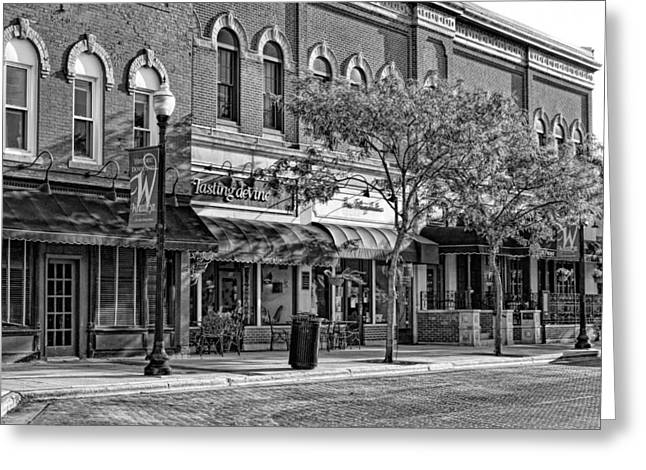 Main Street Greeting Cards - Wheaton Front Street Store Fronts Black and White Greeting Card by Christopher Arndt