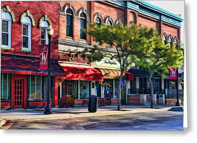 Main Street Greeting Cards - Wheaton Front Street Store Fronts Greeting Card by Christopher Arndt
