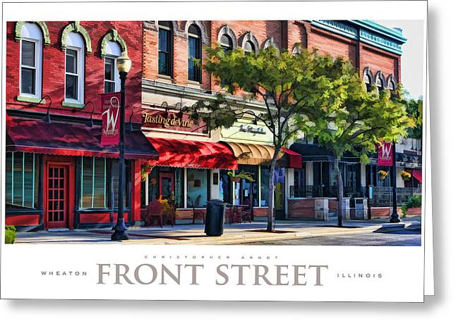 Store Fronts Greeting Cards - Wheaton Front Street Store Fronts Poster Greeting Card by Christopher Arndt