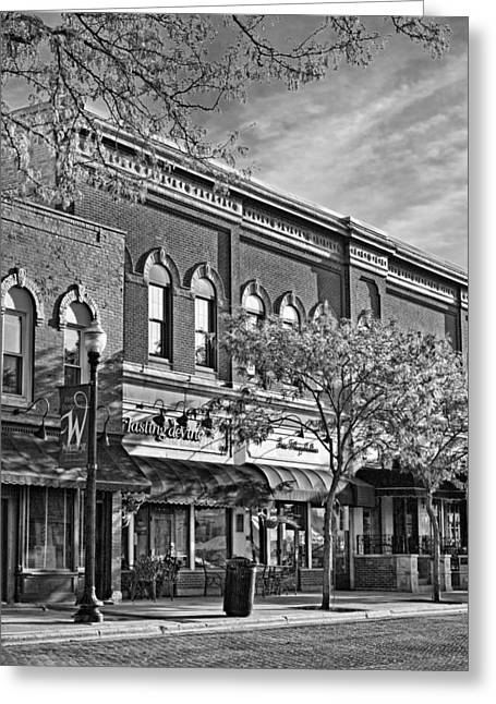 Main Street Greeting Cards - Wheaton Front Street Stores Black and White Greeting Card by Christopher Arndt