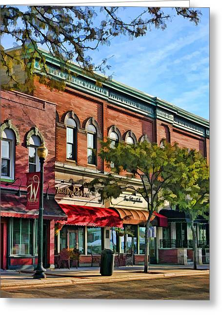 Main Street Greeting Cards - Wheaton Front Street Stores Greeting Card by Christopher Arndt