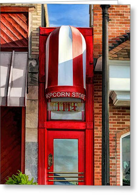 Local Greeting Cards - Wheaton Little Popcorn Shop Panorama Greeting Card by Christopher Arndt