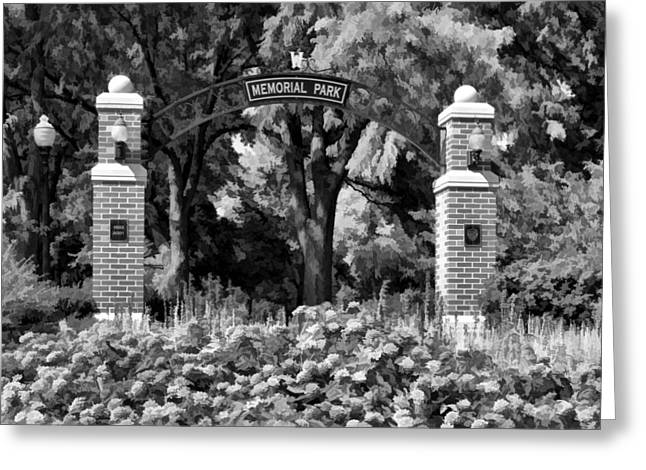 Zinnias Greeting Cards - Wheaton Memorial Park Black and White Greeting Card by Christopher Arndt