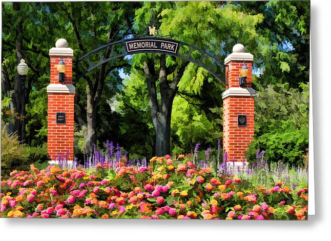 Zinnias Greeting Cards - Wheaton Memorial Park Greeting Card by Christopher Arndt