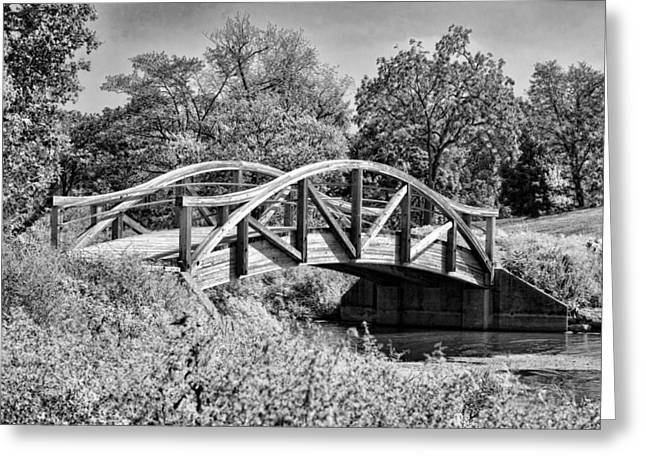 Northside Greeting Cards - Wheaton Northside Park Bridge Black and White Greeting Card by Christopher Arndt