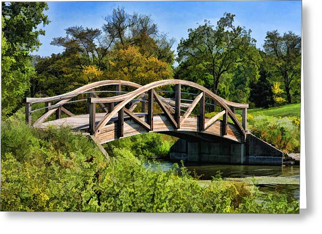 Wheaton Northside Park Bridge Greeting Card by Christopher Arndt